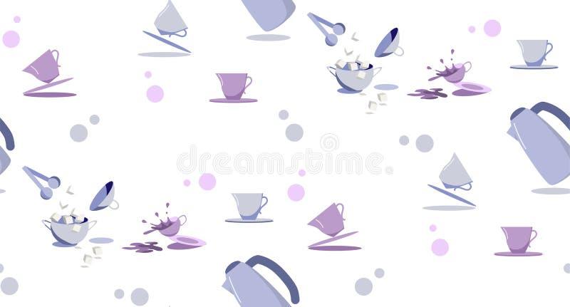 Modèle sans couture avec du café de thé plaçant dans des couleurs en pastel illustration de vecteur