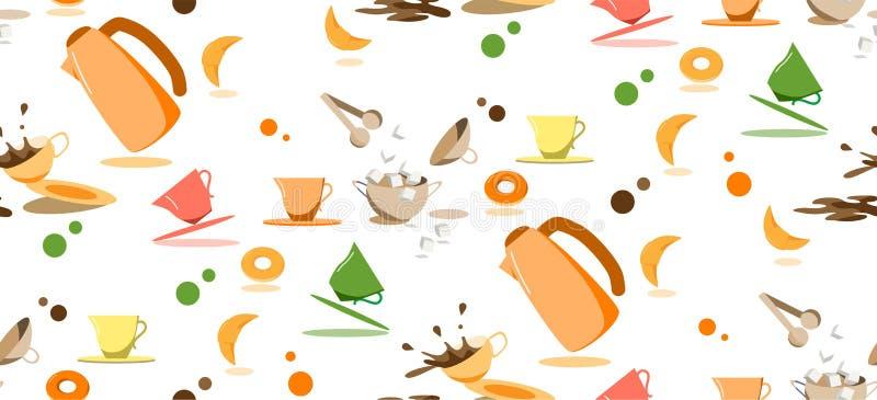 Modèle sans couture avec du café de thé plaçant dans des couleurs lumineuses illustration de vecteur
