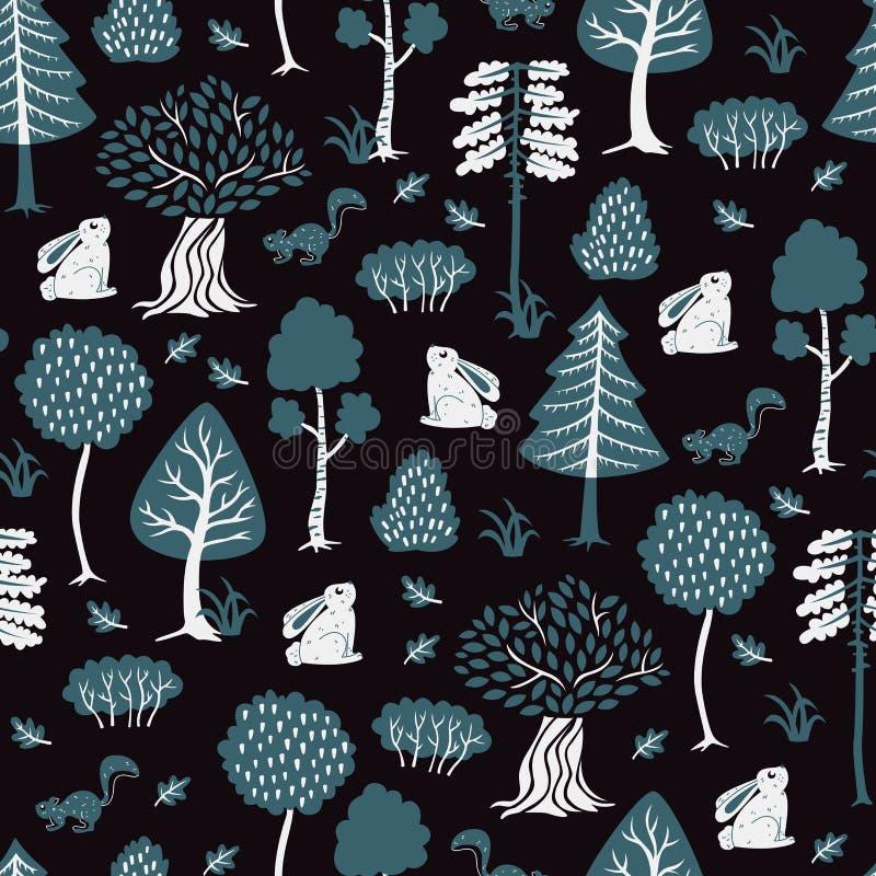 Modèle sans couture avec Forest Elements et des animaux Illust de vecteur illustration libre de droits