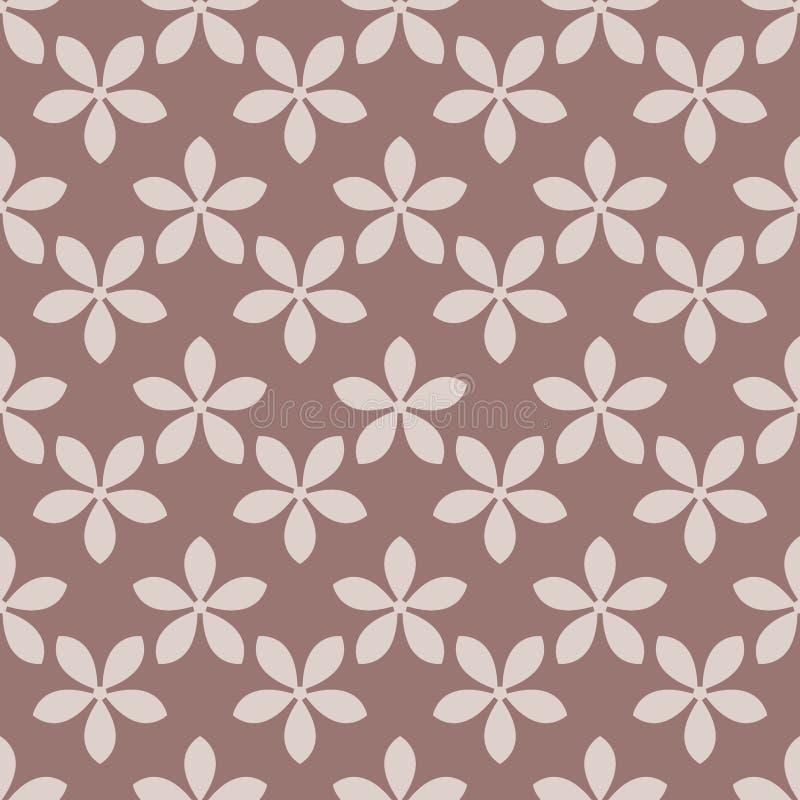 Modèle sans couture avec l'élément de fleur Brown et papier peint abstrait beige illustration stock