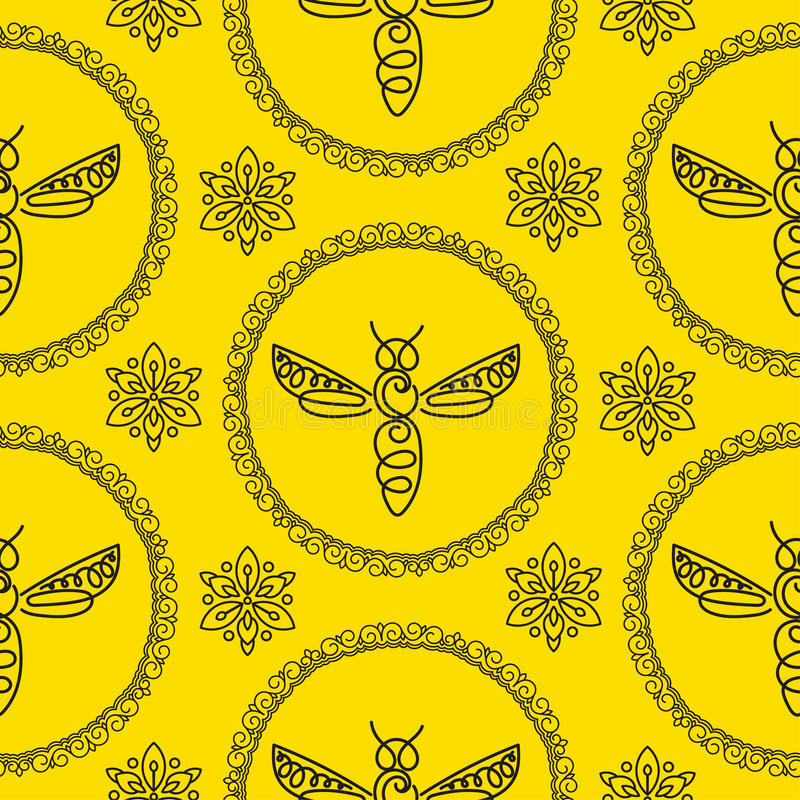 Download Modèle Sans Couture Avec L'abeille Image stock - Image du mouche, frelon: 87702115