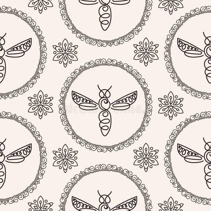 Download Modèle Sans Couture Avec L'abeille Image stock - Image du rucher, mouche: 87702167