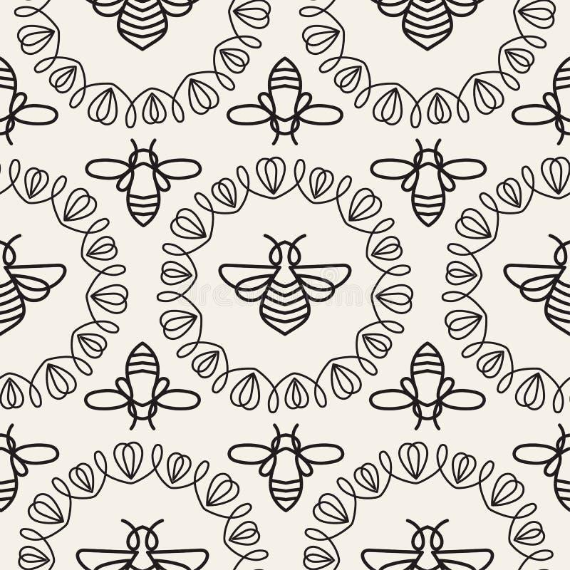 Download Modèle Sans Couture Avec L'abeille Photo stock - Image du insigne, monochrome: 87702170