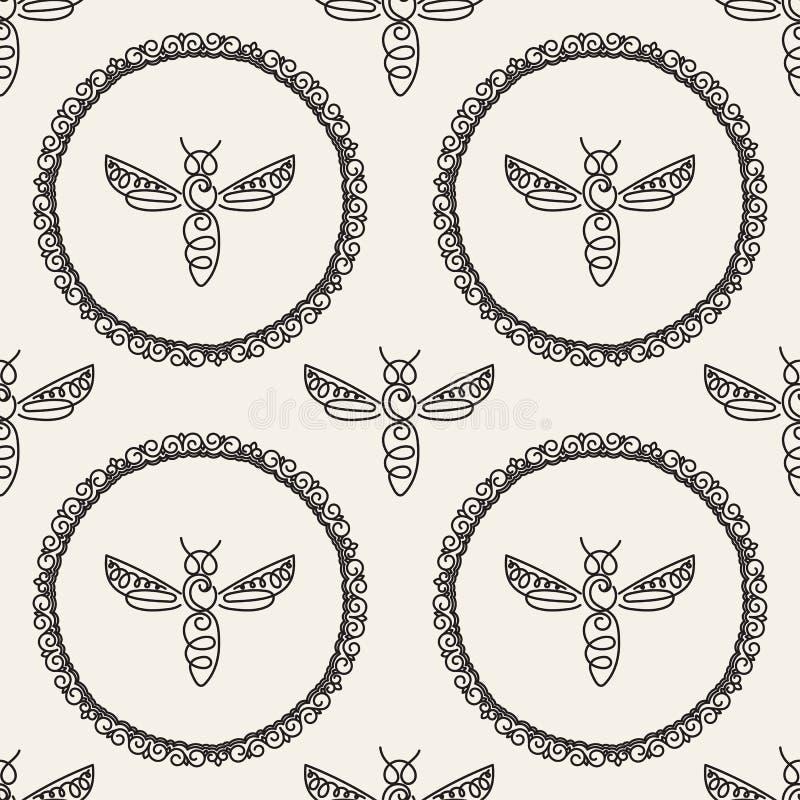 Download Modèle Sans Couture Avec L'abeille Image stock - Image du tissu, répétition: 87702171