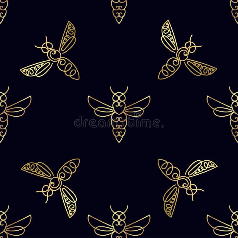 Download Modèle Sans Couture Avec L'abeille D'or Image stock - Image du répétition, descripteur: 87701943