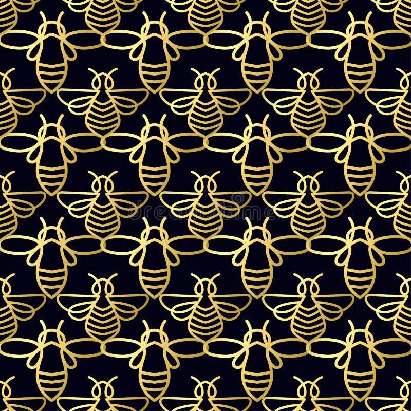 Download Modèle Sans Couture Avec L'abeille D'or Image stock - Image du organique, minimal: 87702011
