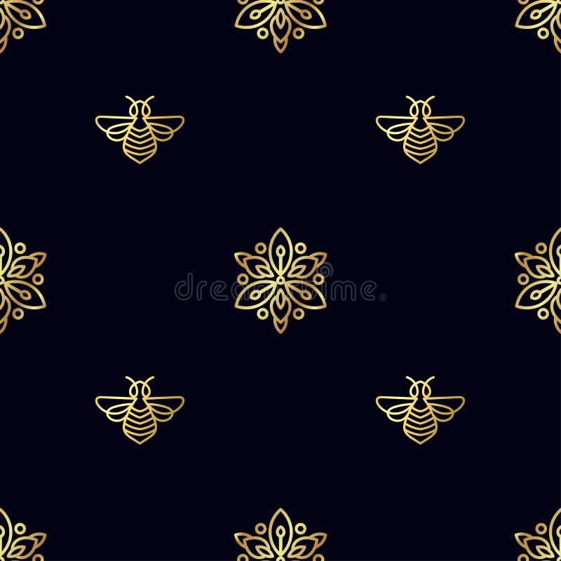 Download Modèle Sans Couture Avec L'abeille D'or Photo stock - Image du silhouette, descripteur: 87702054