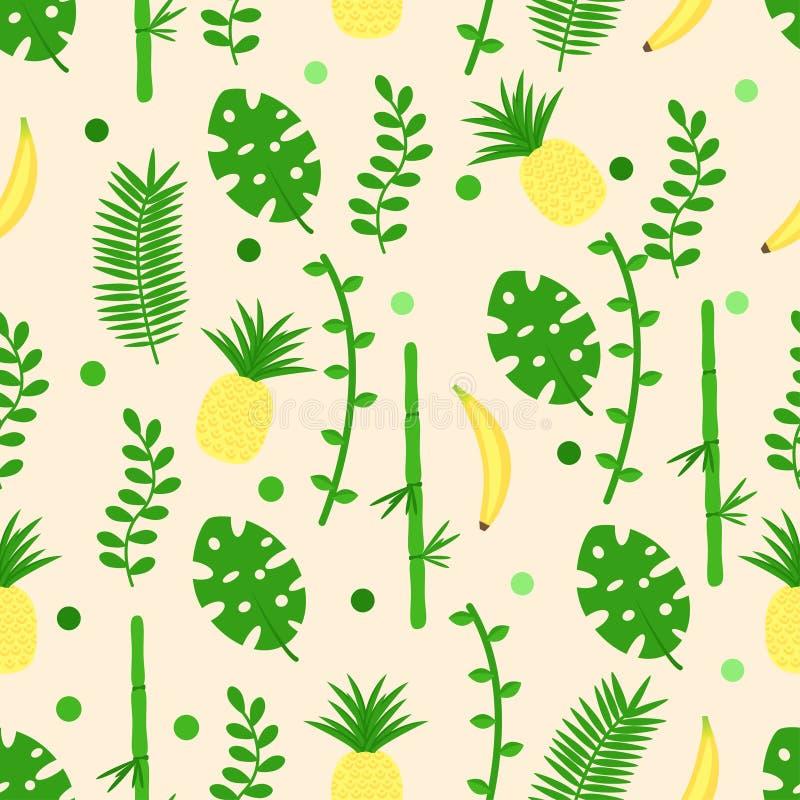 Modèle sans couture avec l'ananas de feuilles de banane - illustration de vecteur, ENV illustration stock
