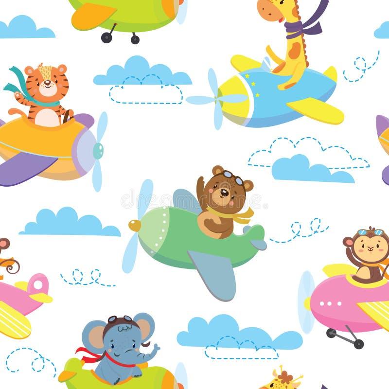 Modèle sans couture avec l'animal mignon sur l'avion en ciel illustration stock