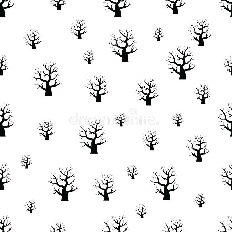 Modèle sans couture avec l'arbre de Halloween sur le fond blanc image stock