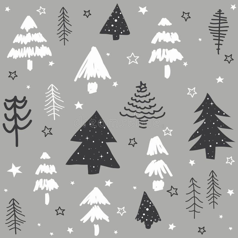 Modèle sans couture avec l'arbre de Noël illustration libre de droits