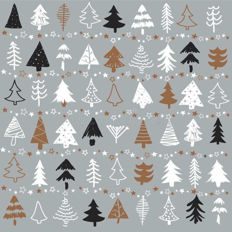 Modèle sans couture avec l'arbre de Noël Forêt congelée illustration stock