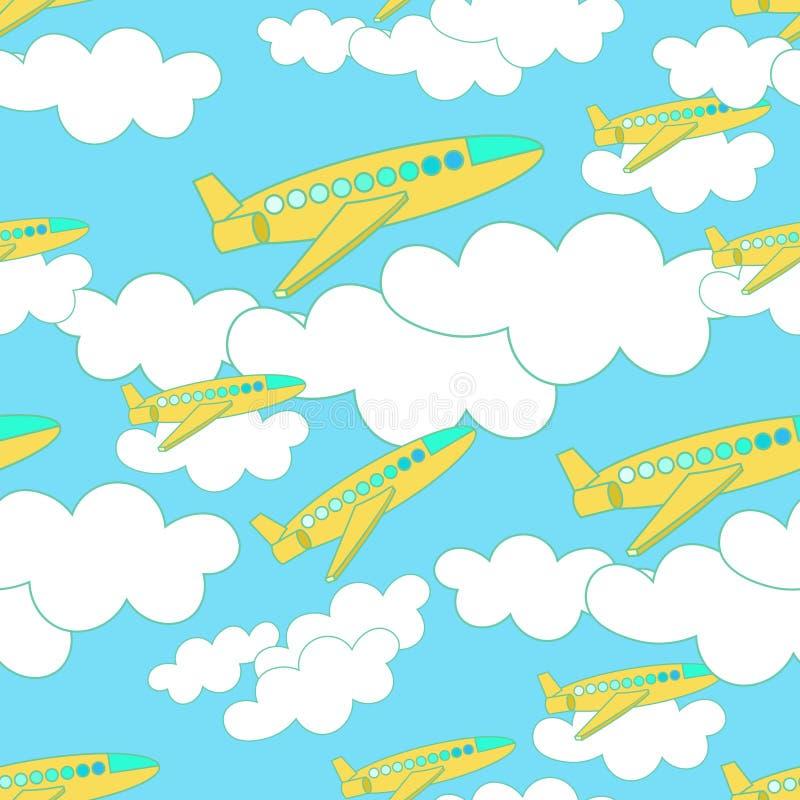Modèle sans couture avec l'avion et les nuages jaunes sur le ciel illustration stock
