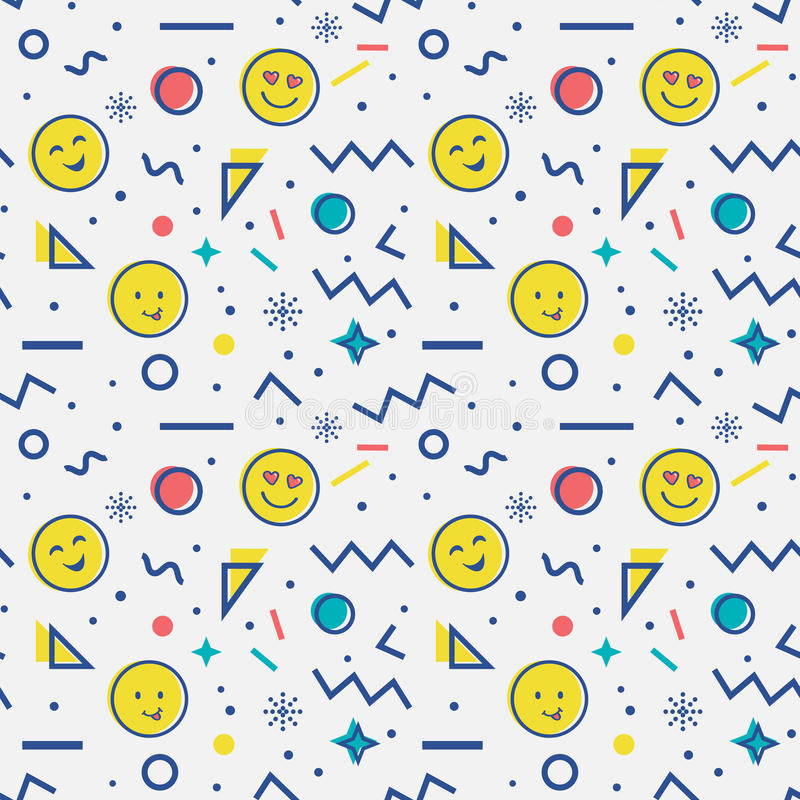 Modèle sans couture avec l'emoji dans le style de Memphis illustration libre de droits