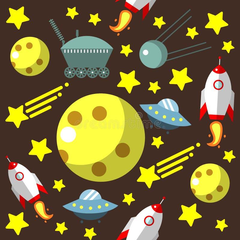 Modèle sans couture avec l'espace, fusées, comète, étoiles et lune et UFO illustration libre de droits