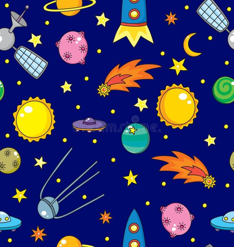 Modèle sans couture avec l'espace, les planètes, la comète et les étoiles illustration de vecteur