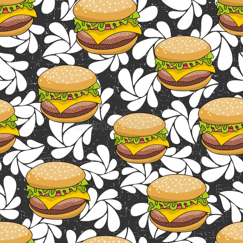 Modèle sans couture avec l'hamburger de griffonnage sur le fond artistique illustration de vecteur