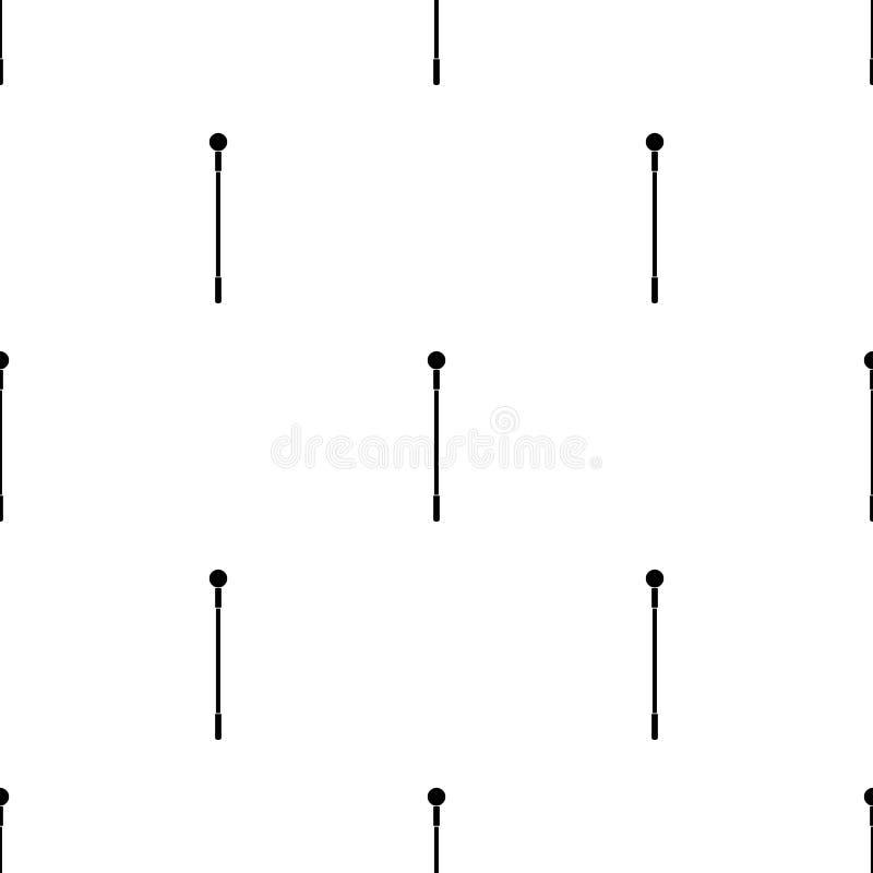 Modèle sans couture avec l'icône magique noire de personnel sur le fond blanc Baguette magique magique, sceptre, bâton, tige Illu illustration libre de droits