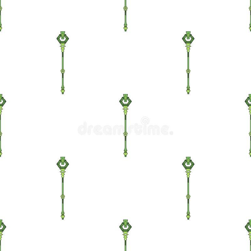 Modèle sans couture avec l'icône magique verte de personnel sur le fond blanc Baguette magique magique, sceptre, bâton, tige Illu illustration stock