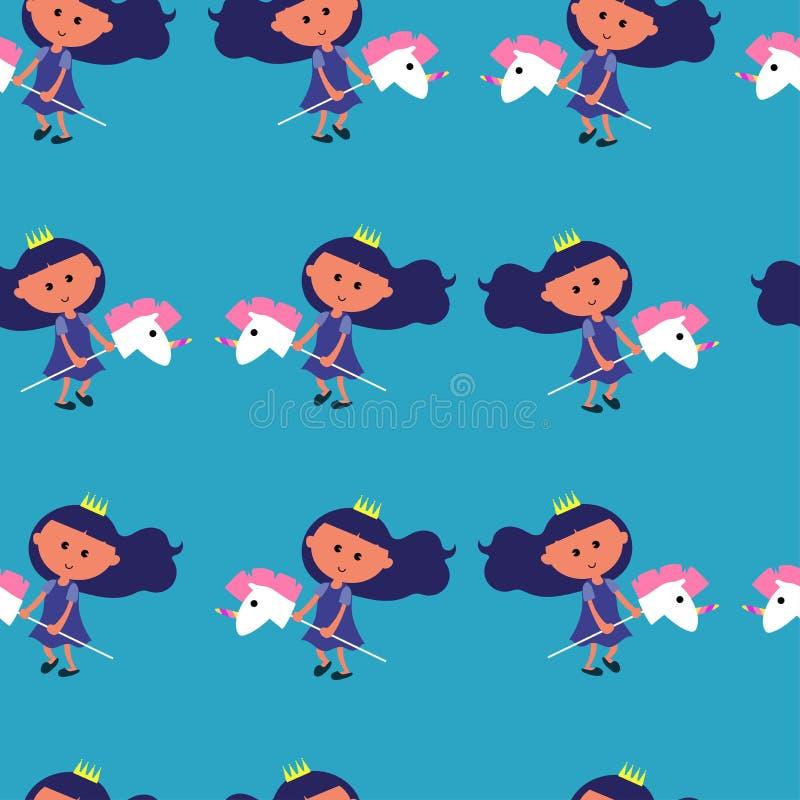 Modèle sans couture avec l'illustration mignonne de vecteur de licorne et de princesse sur le fond bleu Illustration colorée de v illustration de vecteur