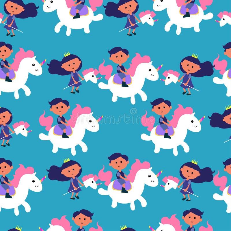 Modèle sans couture avec l'illustration mignonne de vecteur de licorne et de princesse sur le fond bleu Illustration colorée de v illustration libre de droits