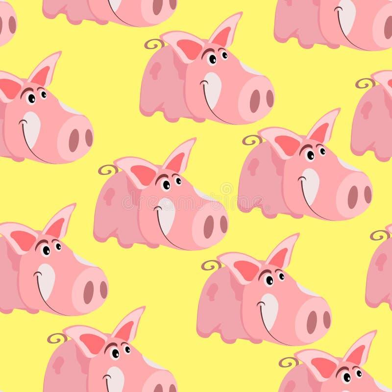Modèle sans couture avec l'image d'un porc de rose de bande dessinée, le symbole de la nouvelle année chinoise, sur un fond d'iso illustration de vecteur