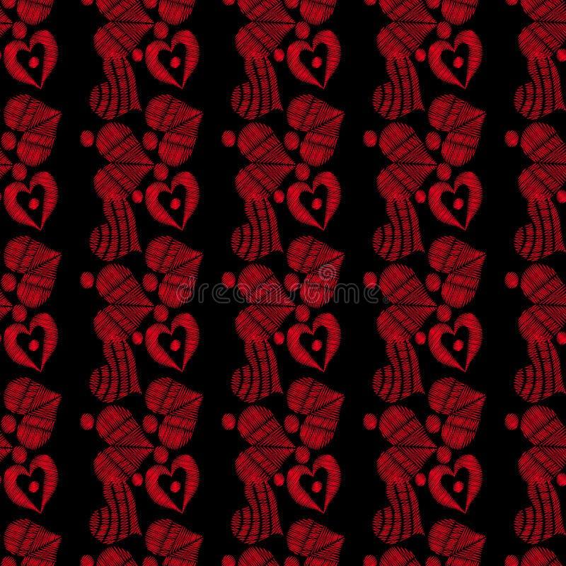 Modèle sans couture avec l'imitation rouge de points de broderie de coeur sur le fond noir illustration libre de droits