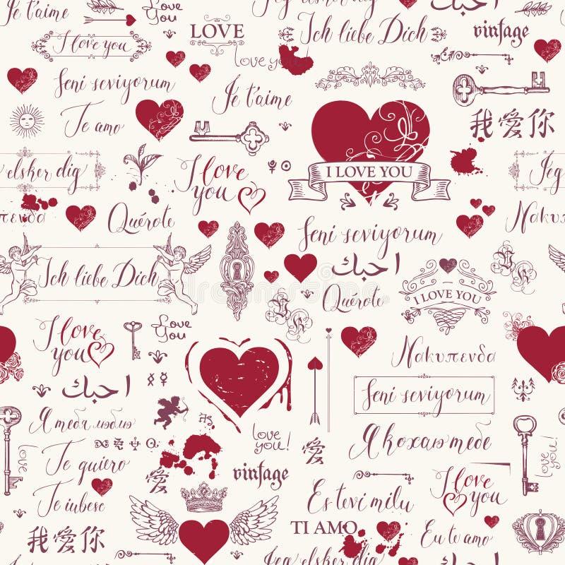 Modèle sans couture avec l'inscription et les coeurs d'amour illustration de vecteur