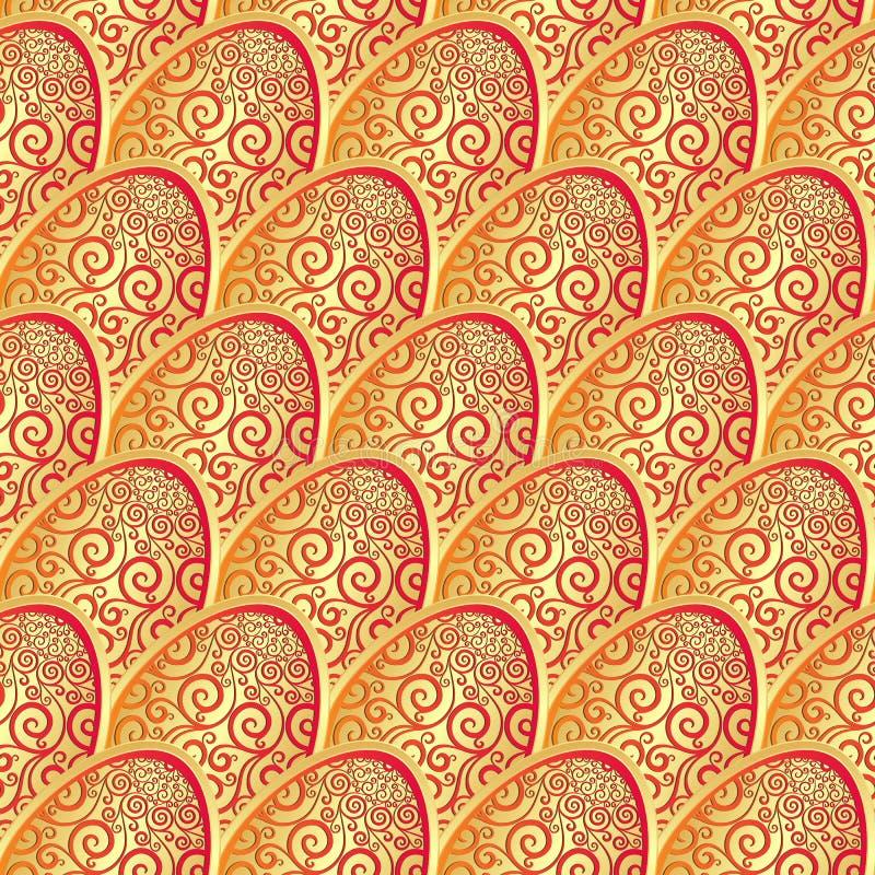 Modèle sans couture avec l'oeuf de pâques de dentelle d'or illustration stock