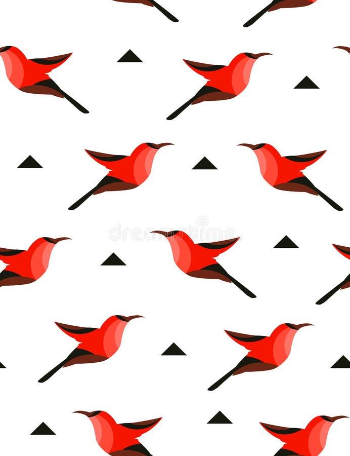 Modèle sans couture avec l'oiseau abstrait et triangles sur le fond blanc Illustration de vecteur illustration de vecteur