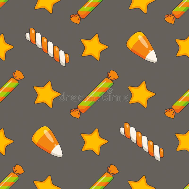 Modèle sans couture avec l'orange traditionnelle tirée mignonne et la sucrerie et les étoiles blanches de Halloween illustration libre de droits