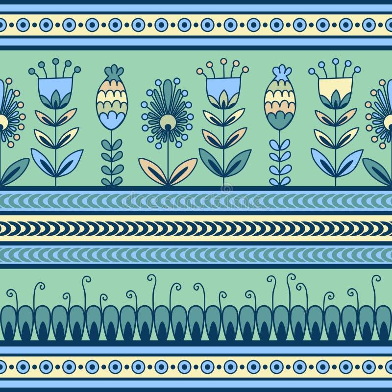 Modèle sans couture avec l'ornement floral dans le décor illustration stock