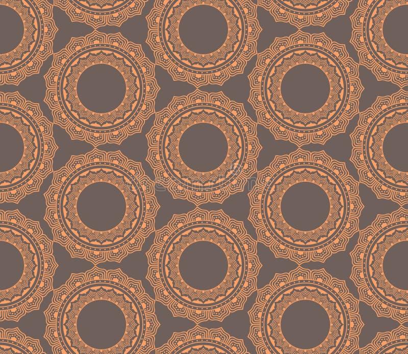 Modèle sans couture avec l'ornement floral de vintage indien plat illustration stock