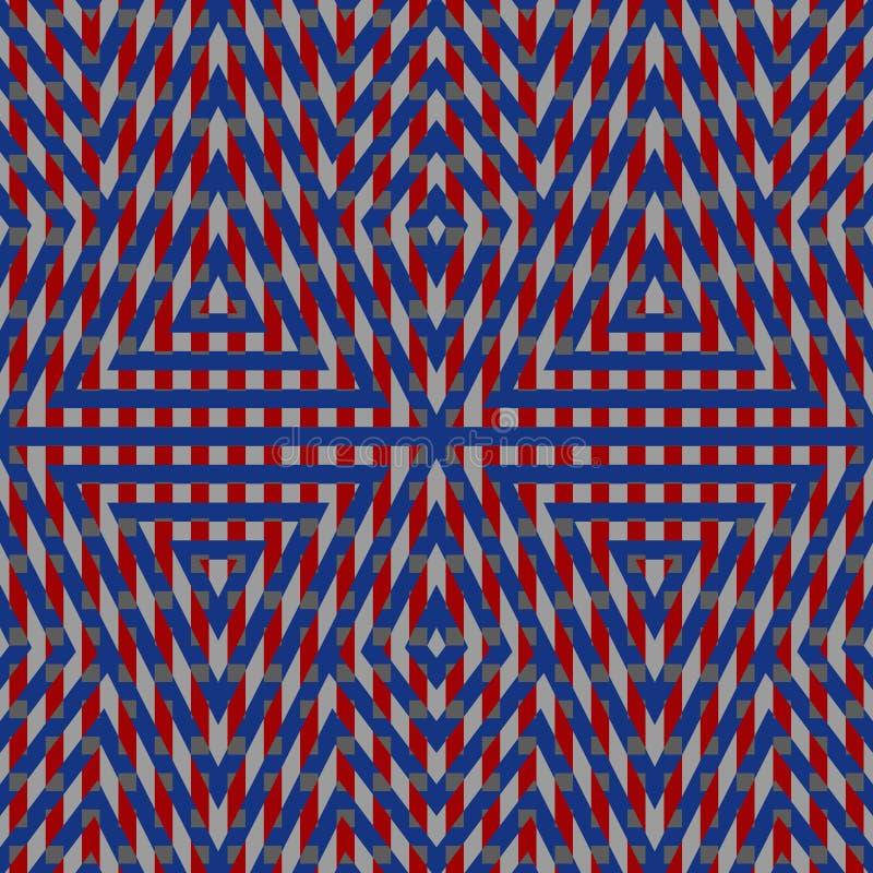 Modèle sans couture avec l'ornement géométrique symétrique Les triangles, les losanges et les lignes répétés de couleur wallpaper illustration de vecteur
