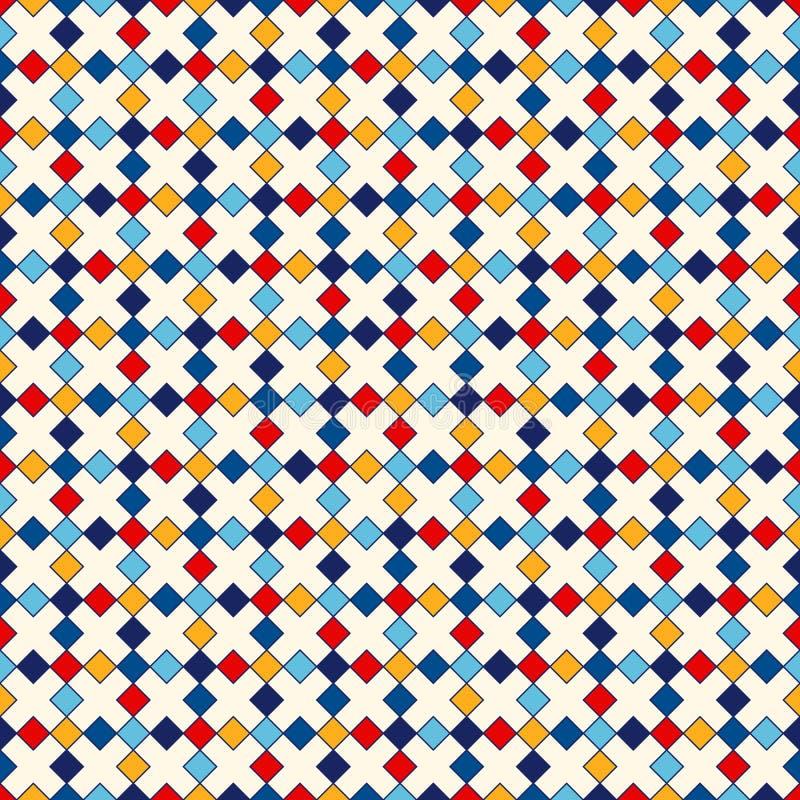 Modèle sans couture avec l'ornement géométrique symétrique Places et fond lumineux de losanges répétés par résumé illustration stock
