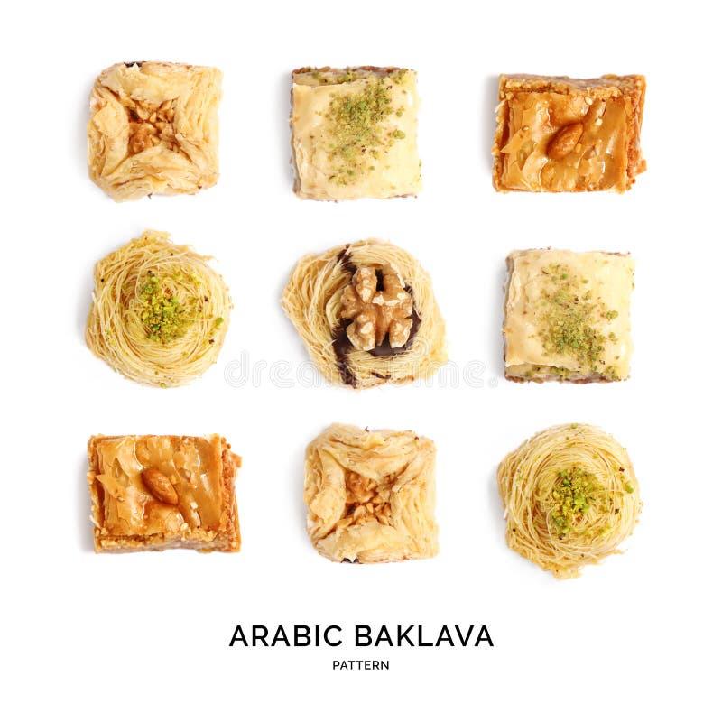 Modèle sans couture avec la baklava Fond abstrait de bonbons images stock