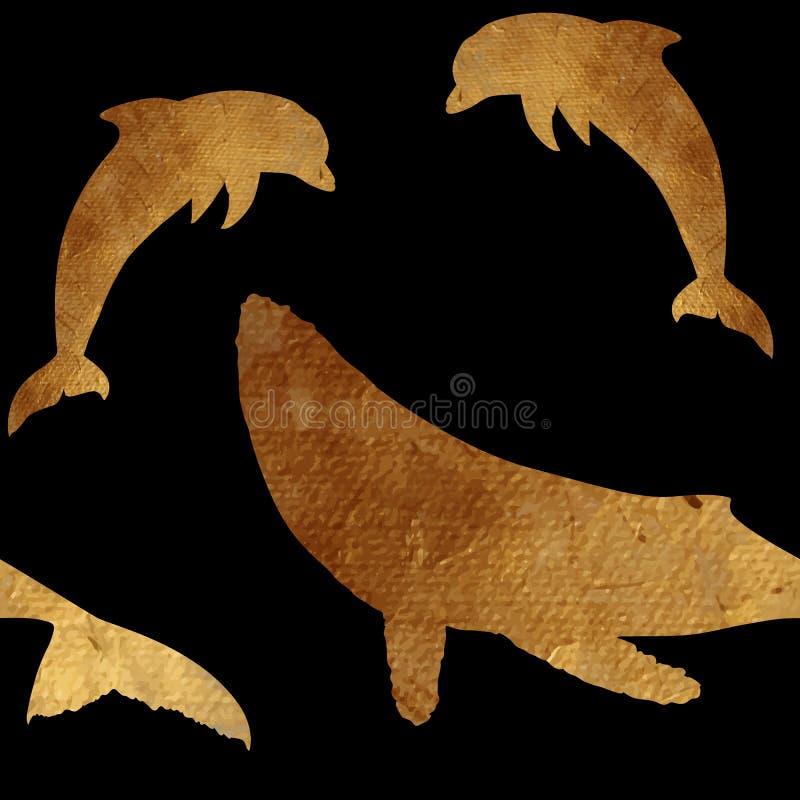 Modèle sans couture avec la baleine et le dauphin d'or illustration libre de droits