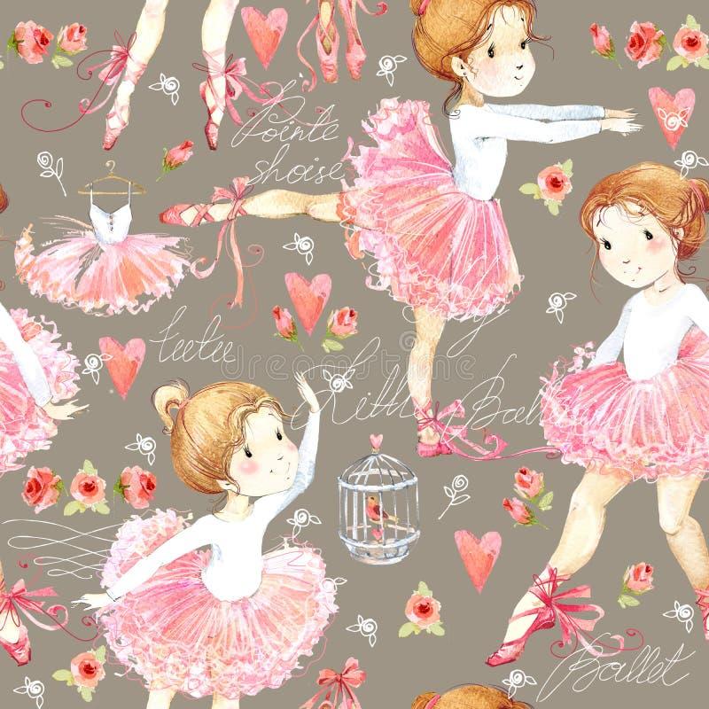 Modèle sans couture avec la ballerine Fille mignonne de ballerine Aquarelle de ballerine illustration de vecteur