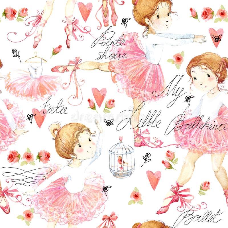 Modèle sans couture avec la ballerine Fille mignonne de ballerine Aquarelle de ballerine illustration libre de droits