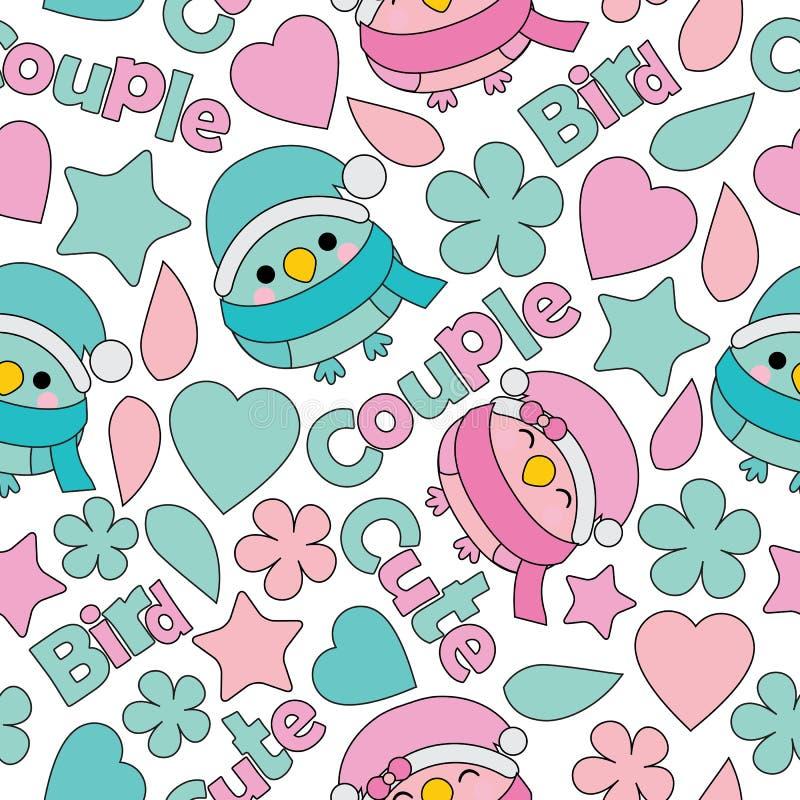 Modèle sans couture avec la bande dessinée mignonne d'oiseaux de couples appropriée à la conception de papier peint d'anniversair illustration de vecteur