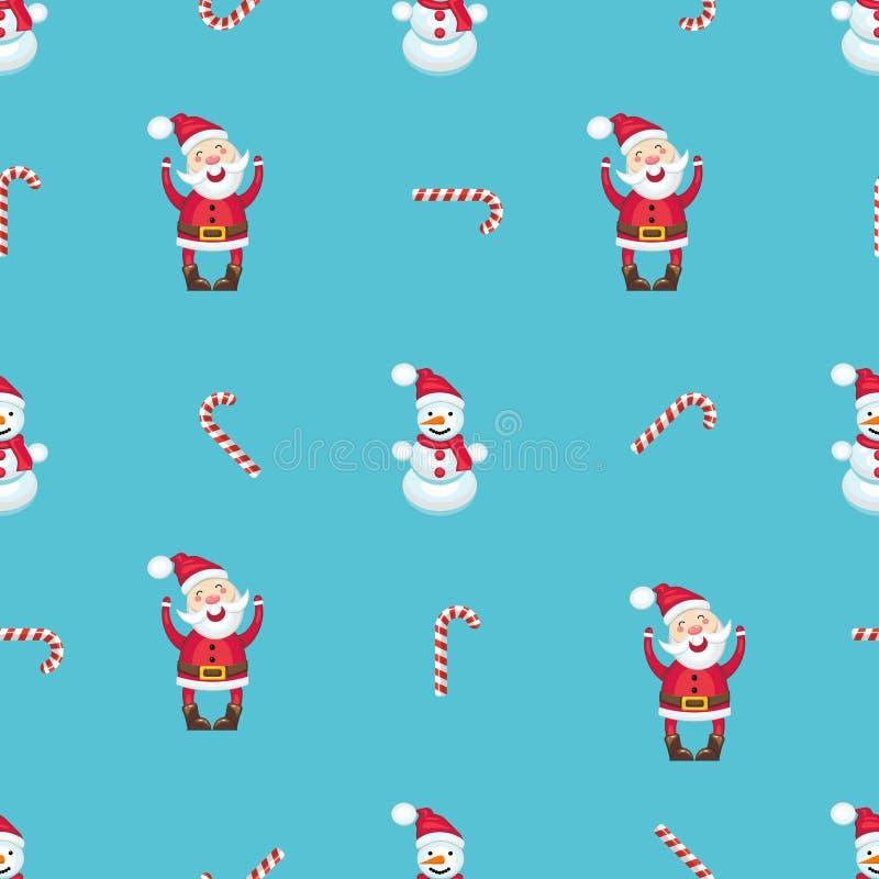 Modèle sans couture avec la canne de Santa Claus, de bonhomme de neige et de sucrerie photographie stock libre de droits