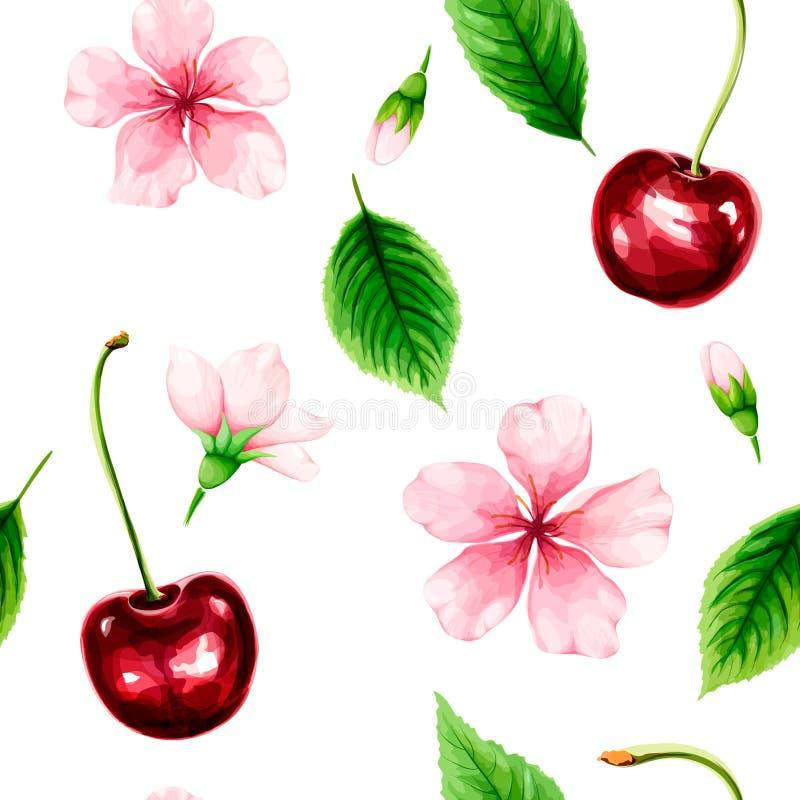 Modèle sans couture avec la cerise mûre, les feuilles de vert et les fleurs roses illustration de vecteur