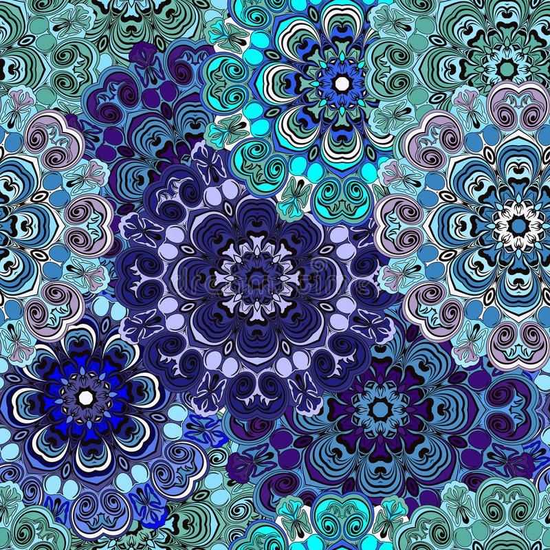 Modèle sans couture avec la conception orientale florale orientale d'ornement floral dans l'Aztèque, turc, Pakistan, Indien, Chin illustration de vecteur