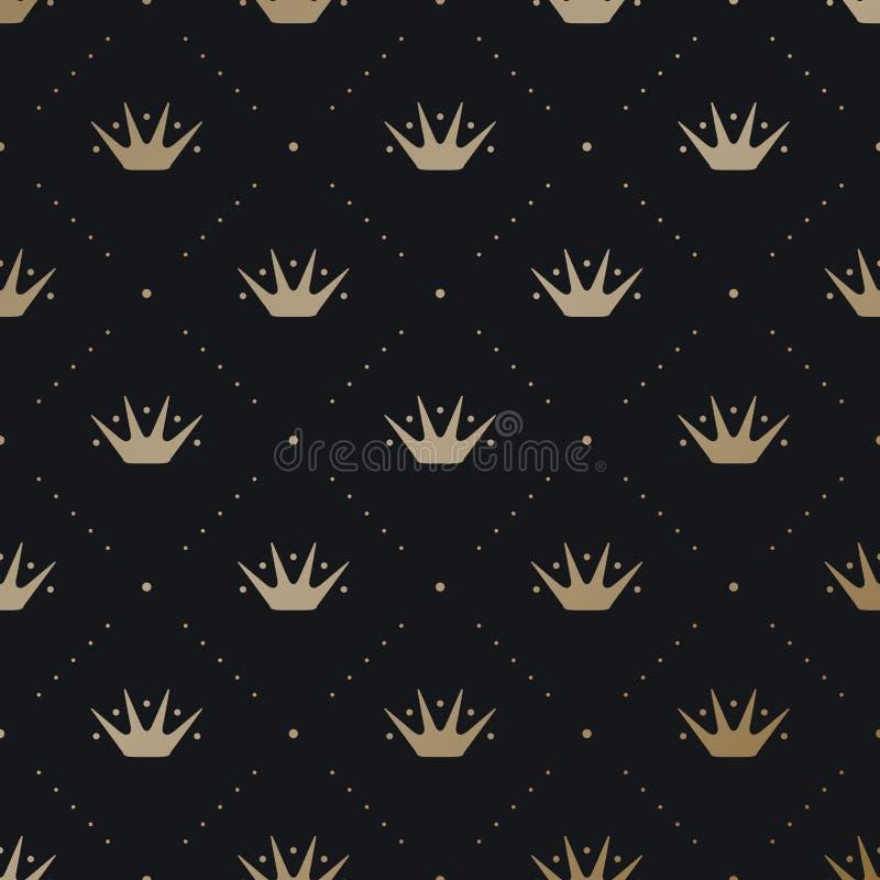 Modèle sans couture avec la couronne de roi d'or sur un fond de noir foncé illustration stock