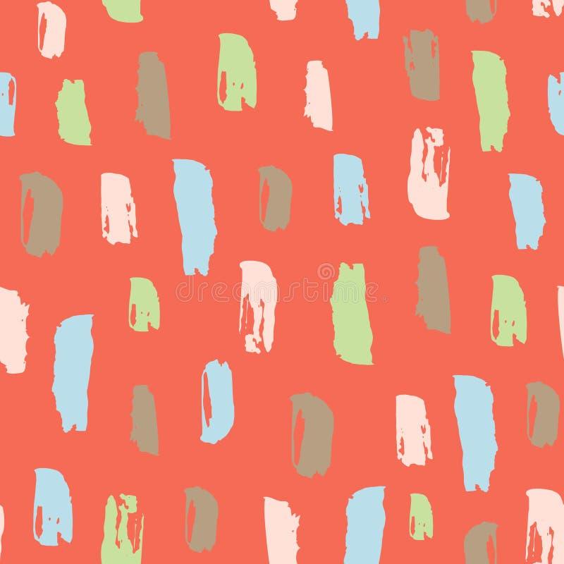 Modèle sans couture avec la course tirée par la main de brosse Dessin au trait coloré à tiret par la brosse Fond unique à la mode illustration libre de droits