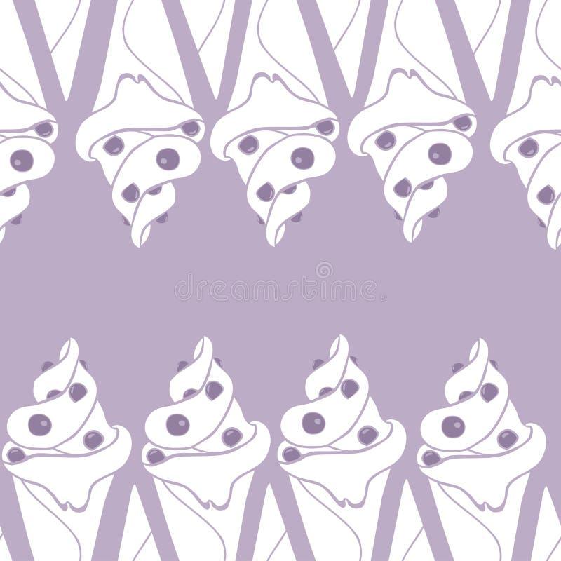 Modèle sans couture avec la crème glacée dans les couleurs violettes illustration stock