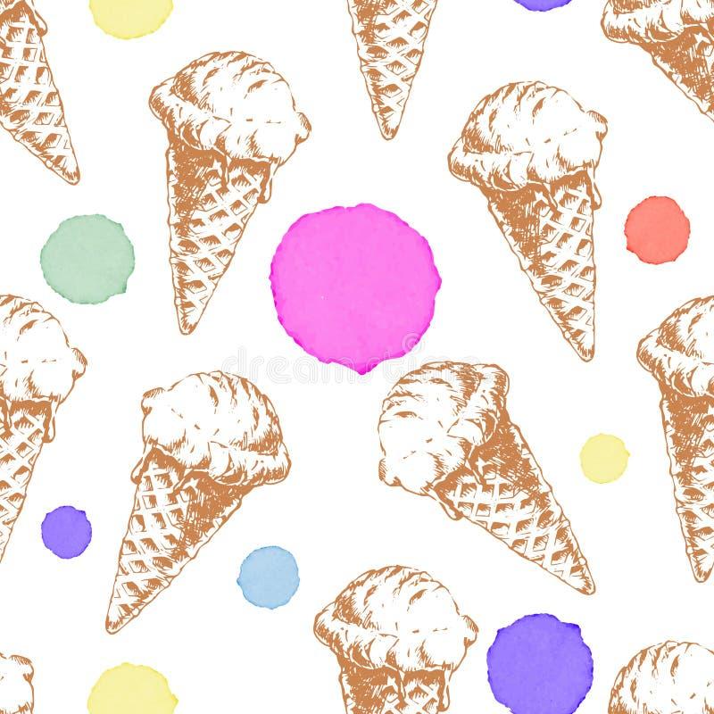 Modèle sans couture avec la crème glacée de gaufre de cône et les baisses colorées d'aquarelle illustration stock