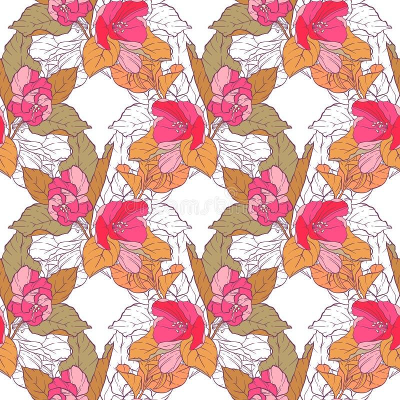 Modèle sans couture avec la fleur de pomme Kaléidoscope rond des fleurs et des éléments floraux illustration stock