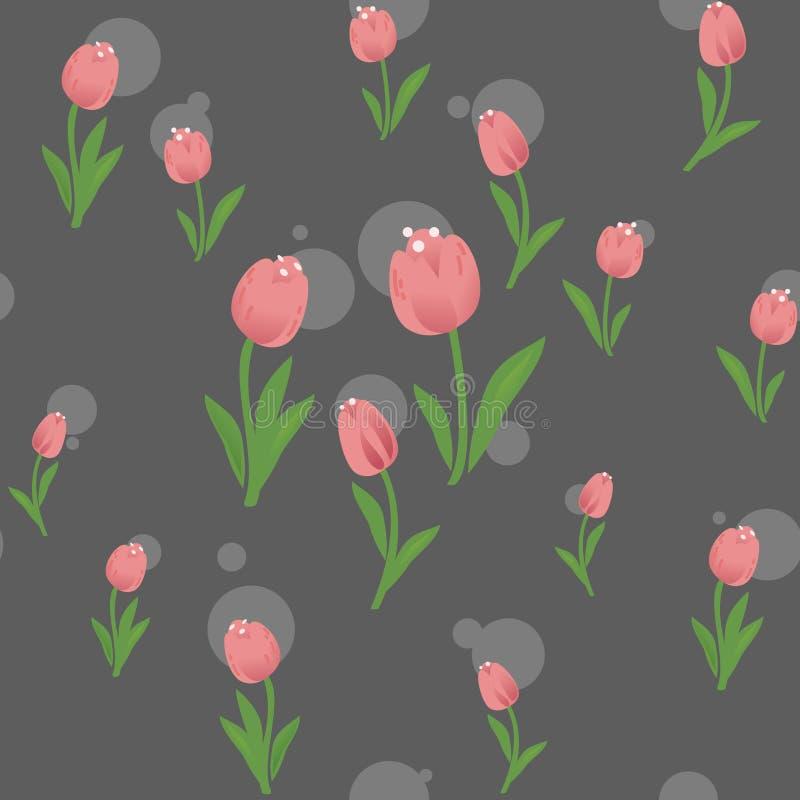 Modèle sans couture avec la fleur de tulipes illustration libre de droits