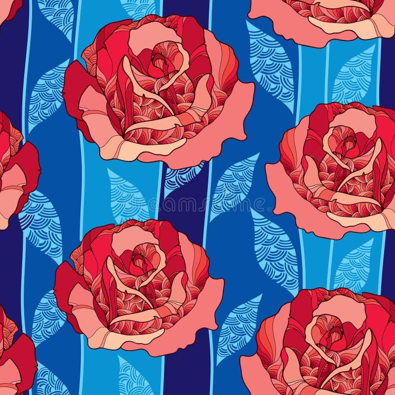 Modèle sans couture avec la fleur rose dans des feuilles fleuries rouges et bleues sur le fond bleu-foncé illustration stock
